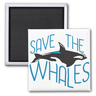 Save the Whales Square Magnet