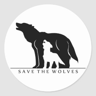 Save the Wolves (white ver.) Classic Round Sticker