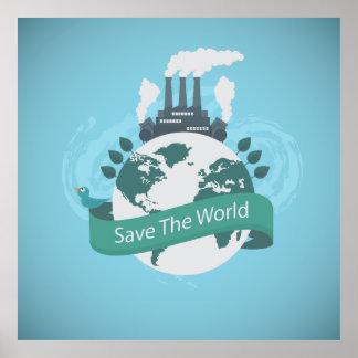 Save the World illustration Poster
