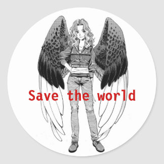 Save The World Round Sticker