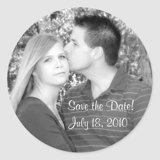 Save theDate! upload your own photo Classic Round Sticker