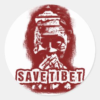 SAVE TIBET~! FREE TIBET! ROUND STICKER