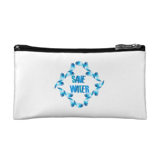 Save water graphic with water droplets cosmetics bags