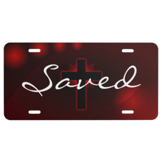 Saved Black Cross Red Background License Plate