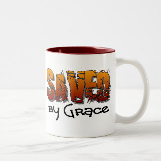 Saved by grace Christian design Two-Tone Coffee Mug