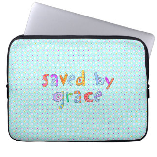 Saved By Grace Cute Christian Artsy Polkadots Computer Sleeves