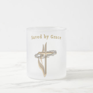 Saved by Grace Frosted Glass Coffee Mug
