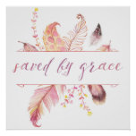 Saved by grace religious art print