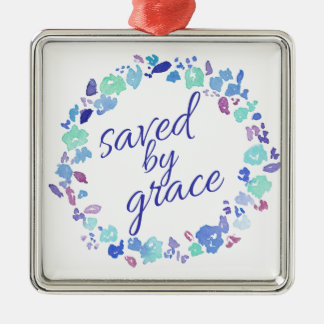 Saved By Grace Silver-Colored Square Ornament