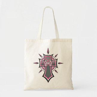 SAVED Christian Pink Cross Tote Bag