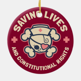 Saving Lives & Rights Ceramic Ornament