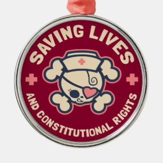 Saving Lives & Rights Metal Ornament