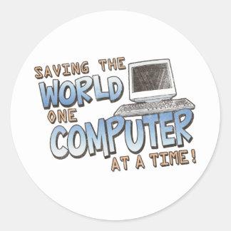Saving theWorld Round Sticker