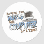 Saving theWorld Round Stickers