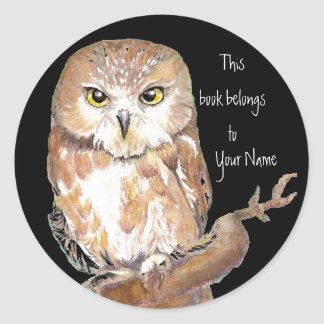 Saw Whet Owl Book Plate Classic Round Sticker
