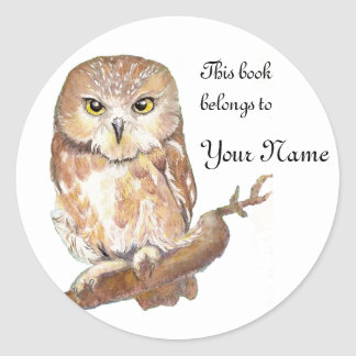 Saw Whet Owl Bookplate, Label