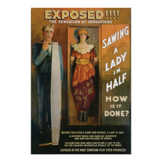 Sawing A Lady In Half ~ Magician Vintage Magic Act Poster