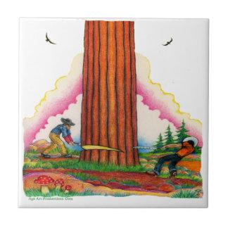 sawingA Mighty Tree Page 8 Ceramic Tiles
