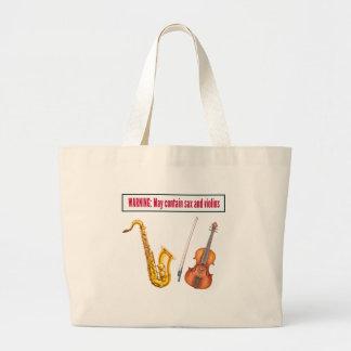 sax and violins large tote bag