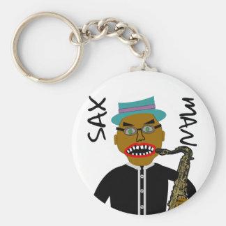 Sax Man Blues Folk Art Basic Round Button Keychain
