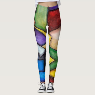 Sax player abstract painting on leggings