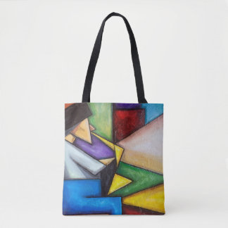 Sax player abstract painting on tote bag