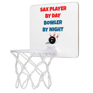 Sax Player by Day Bowler by Night Mini Basketball Hoop