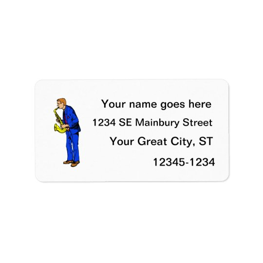 Sax Player Male Blue Suit Side View Music Graphic Label