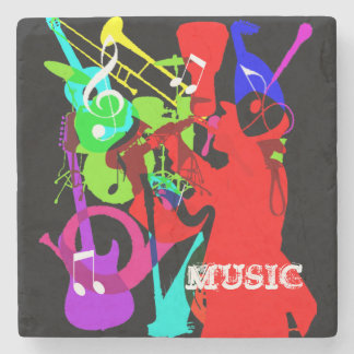 Sax Player Musical Instrument Medley Music Graphic Stone Coaster