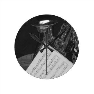 Saxaphone and Sheet Music Round Clock