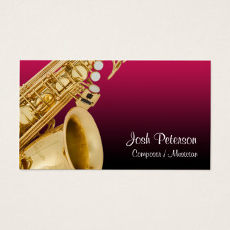 Saxaphone Red Gradient Business Card
