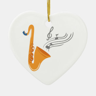 Saxophon saxophone sax ceramic heart ornament