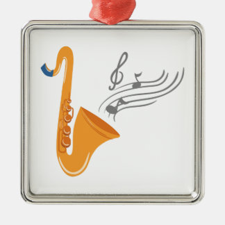 Saxophon saxophone sax Silver-Colored square ornament