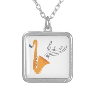 Saxophon saxophone sax silver plated necklace