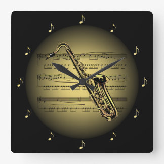 Saxophone 3-D Gold Globe ~ Sheet Music ~ Black BG Square Wall Clock