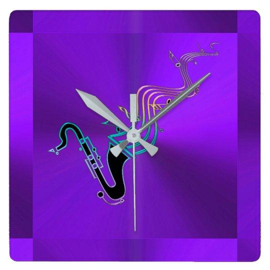 Saxophone  Blowing Notes Modern Metallic Purple Square Wall Clock