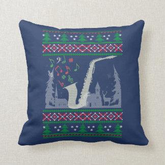 Saxophone Christmas Throw Pillow