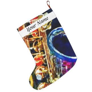 Saxophone Closeup Large Christmas Stocking