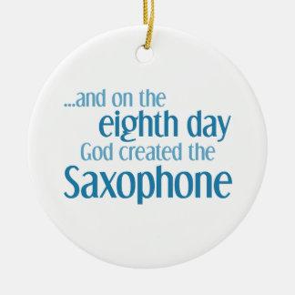 Saxophone Creation Round Ceramic Ornament