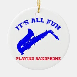saxophone Designs Round Ceramic Ornament