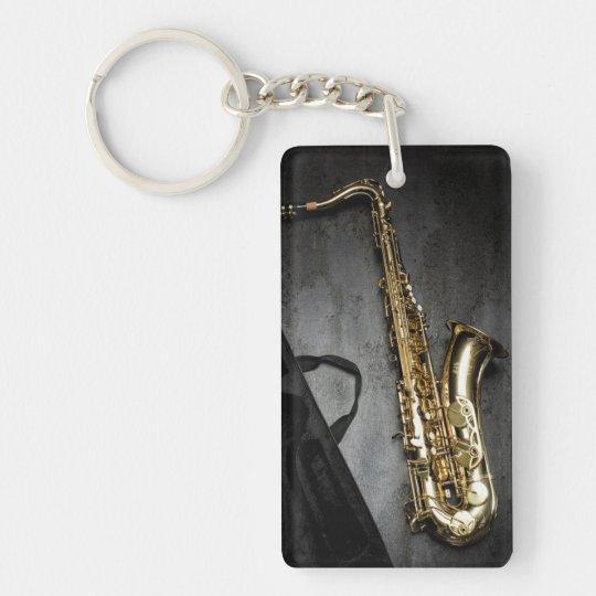 Saxophone Double-Sided Rectangular Acrylic Keychain