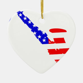 Saxophone Flag Background Ceramic Heart Ornament