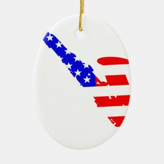 Saxophone Flag Background Ceramic Oval Ornament