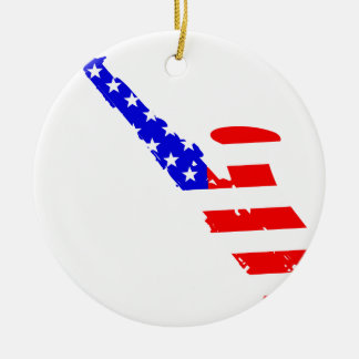 Saxophone Flag Background Round Ceramic Ornament