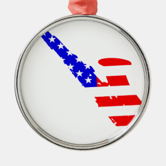 Saxophone Flag Background Silver-Colored Round Ornament