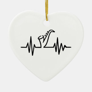 Saxophone frequency ceramic heart ornament