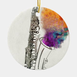 Saxophone Healing Ceramic Ornament