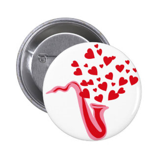 Saxophone Hearts Pinback Buttons