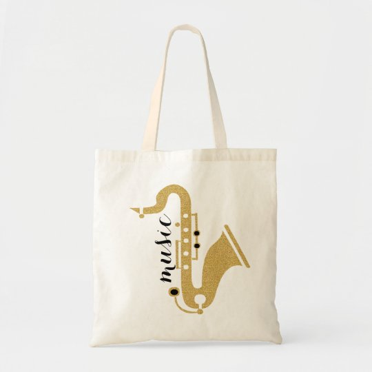 Saxophone Illustration In Golden Glitter Texture Tote Bag