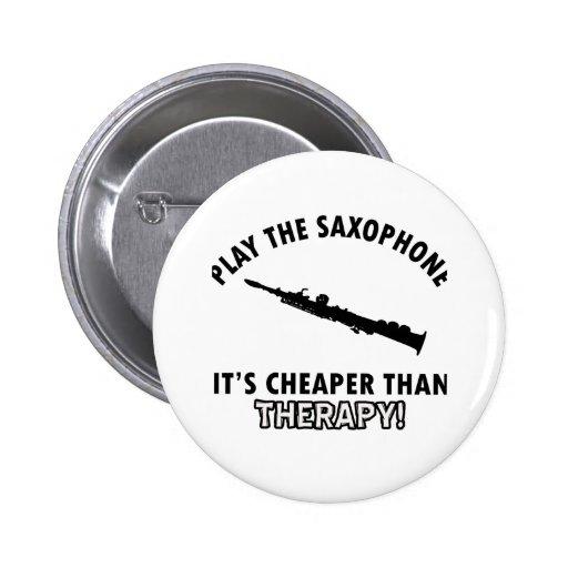 saxophone instrument designs pinback button